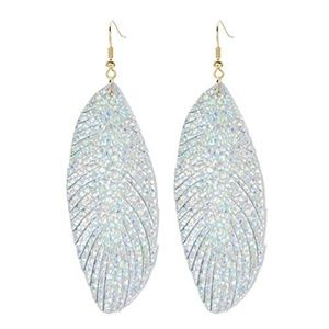 Genuine Leather Feather Leaf Earring for Women Spa